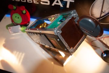 """AcubeSAT at TIF HELEXPO 2019 with """"Paxi"""" Esa's alien toy!"""